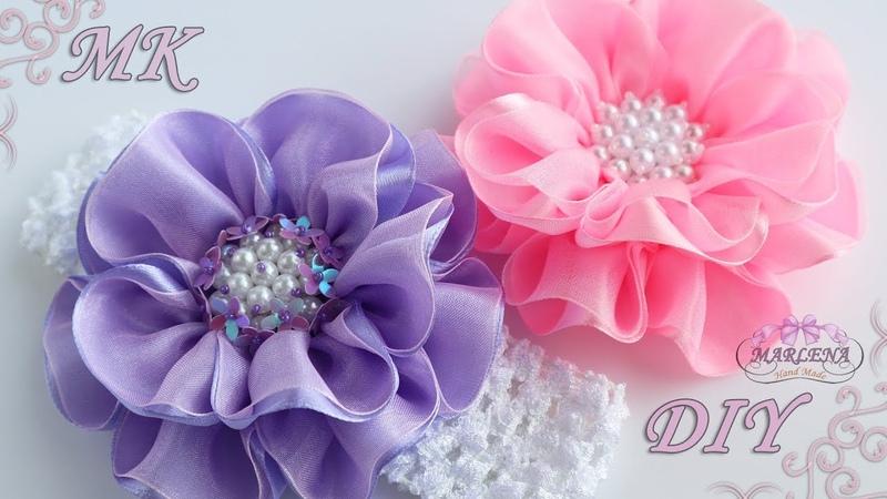 ✿ Цветы из лент и органзы Повязка на голову Канзаши МК DIY