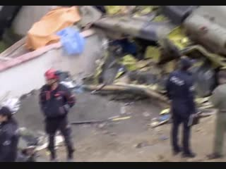 UH-1 type Turkish military chopper crashed in residential area