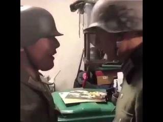 German Soldiers Singing Erika Clinking Helmets