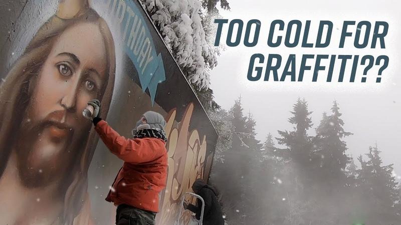 Realistic JESUS GRAFFITI XMAS WALL painted in the snow   KAYO, CREIS SMOE