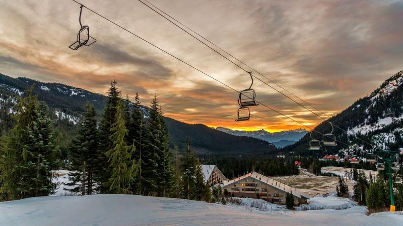Картинка горы. Канада, снег, рассветы и закаты, ель, курорт, горы, зима, дома.