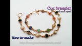 Eye bracelet with small crystal - Herringbone wire wrap bead 388