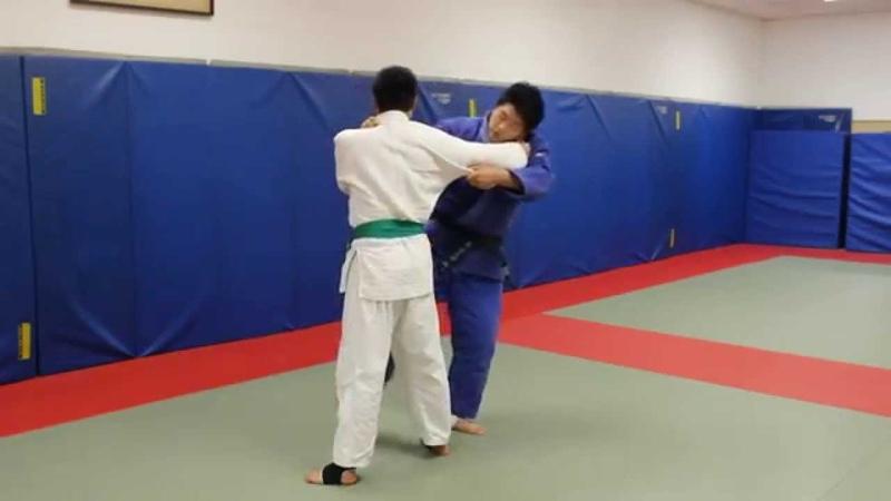 Judo NYC: Sasae into Osoto gari against stiff arm