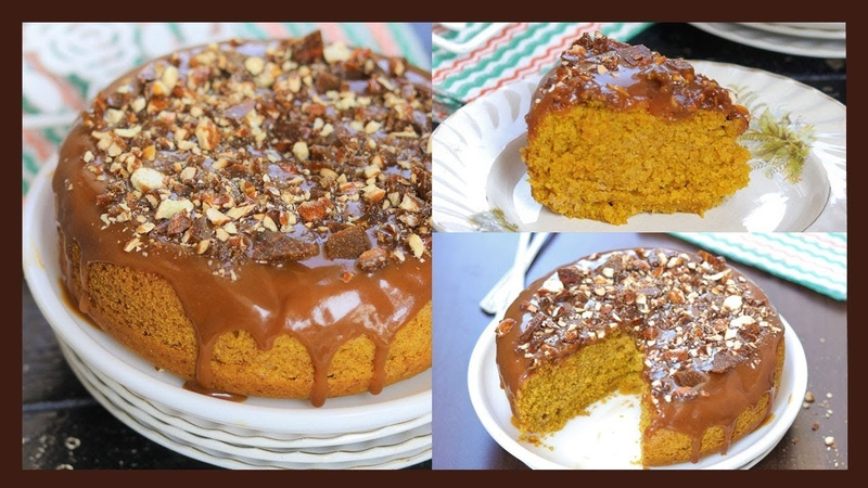 Eggless Butterscotch Cake | Whole Wheat Cake Without Oven | With Homemade Caramel Sauce and Praline