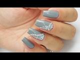 Grey ornaments Rhinestones Bluesky #ornamentsnails