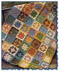 бабушкиными. наверное, за простоту вязания.  А этот плед связан самыми простыми квадратами, которые называют еще.