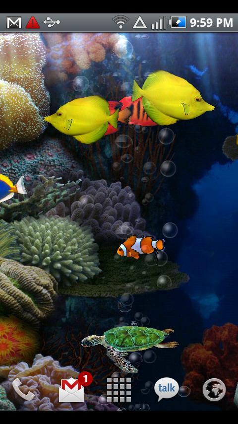 Скачать живые обои на Андроид Аквариум с рыбками