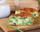 Нежный пирог с зеленым луком, курицей и сыром