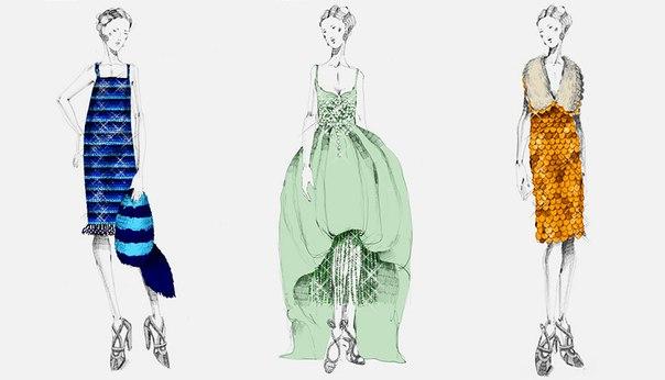 Эскизы платьев миуччи прады для
