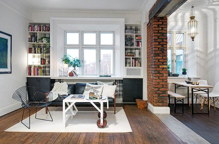 Перепланировка однокомнатной квартиры 44 м в студию в Гётеборге / Швеция - http://kvartirastudio.