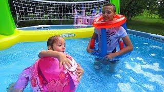 ЧЕЛЛЕНДЖ спортивный в бассейне с ЗАДАНИЕМ Игры в воде Challenge for kids Видео для детей