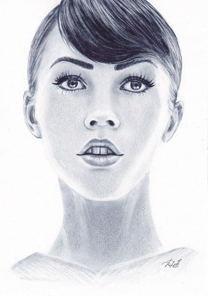 Портрет в технике сухая кисть