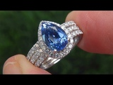 GIA Certified Natural Blue Sapphire &amp Diamond Platinum Ring - A141605