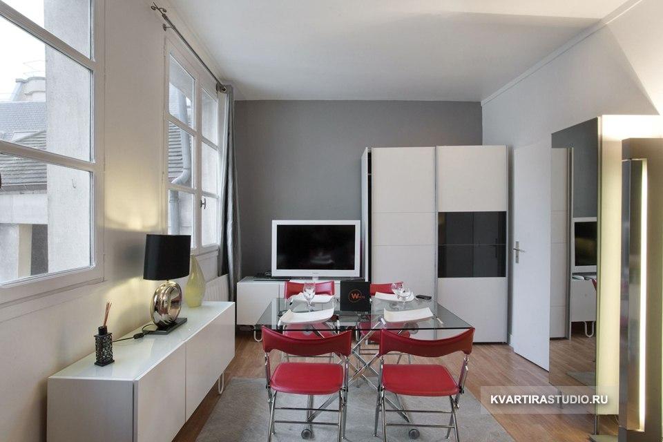 Квартира-студия 33 м с кроватью под потолком в Париже / Франция - http://kvartirastudio.