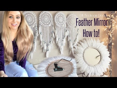 DIY Room Decor - FEATHER MIRROR TUTORIAL - JuJu Style - Boho Tribal Bedroom