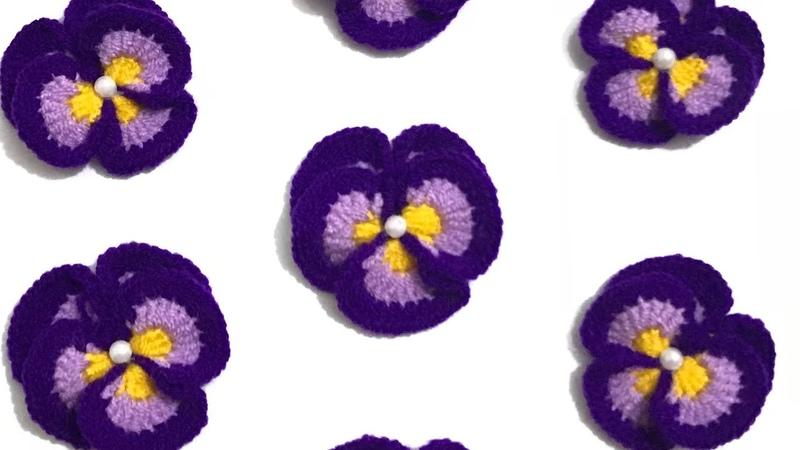 Menekşe Örgü Çiçek Modeli Yapımı