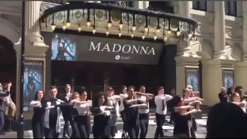 The London Palladium celebrated the announcement of the MadameXTour dates with a special event at 1230pm BST today Madonna Strik