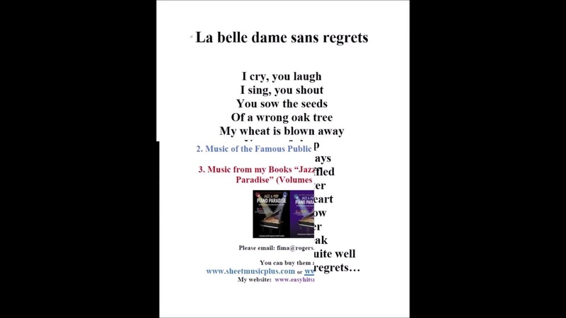 La Belle Dame Sans Regrets (by Sting) for Violin and Piano (Sheet Music)