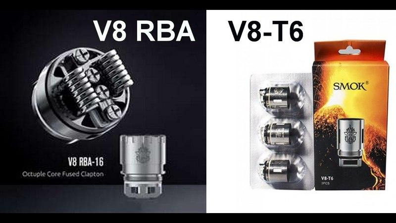 TFV8 - не обслужка V8-T6, обслужка V8 RBA с преднамоткой от Smok. Укладка ваты. Испытание голов.