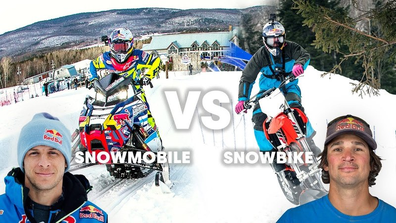 SNOWMOBILE vs SNOWBIKE Whats faster in a race
