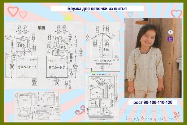 Выкройка детской блузки для девочки