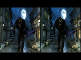 VR Video for Playstation VR. Meeting with the WereWolf 3D Horror VR SBS Virtual Reality