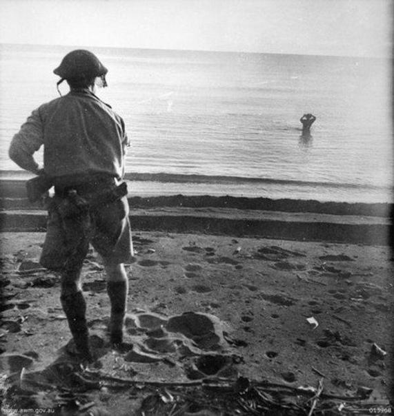 Австралийский военнослужащий наблюдает, как японский солдат собирается совершить самоубийство подорвав гранату возле своей головы