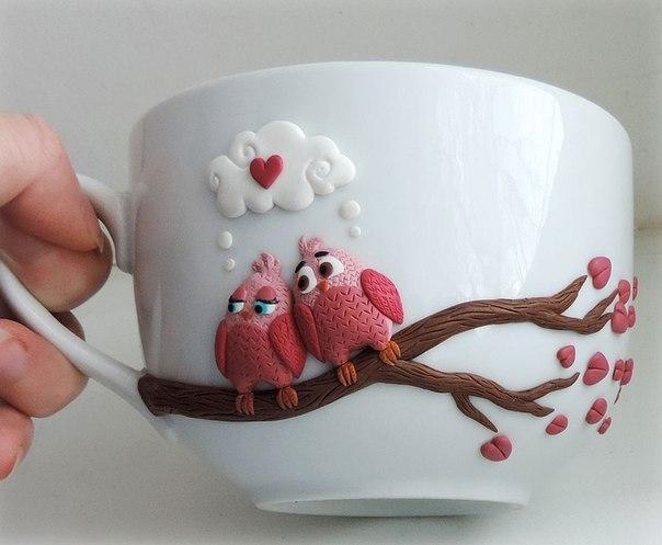 Декор чашек полимерной глиной (6 фото)