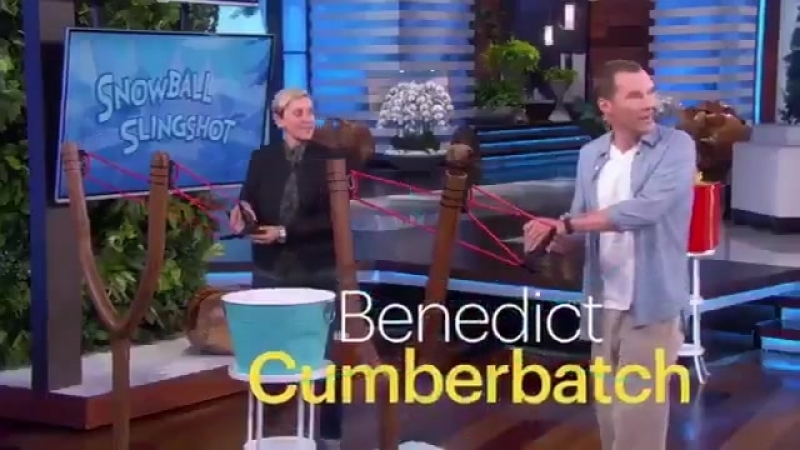 Tiny preview of Benedict Cumberbatch on Ellen tomorrow - shooting snowballs at a lucky victim.