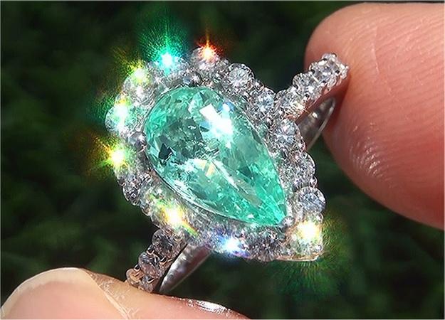 GIA Certified VVS Natural Copper Manganese Paraiba Tourmaline Diamond 14k White Gold Ring - C818