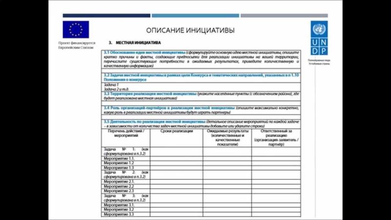 Форма заявки на 1-й Конкурс местных инициатив