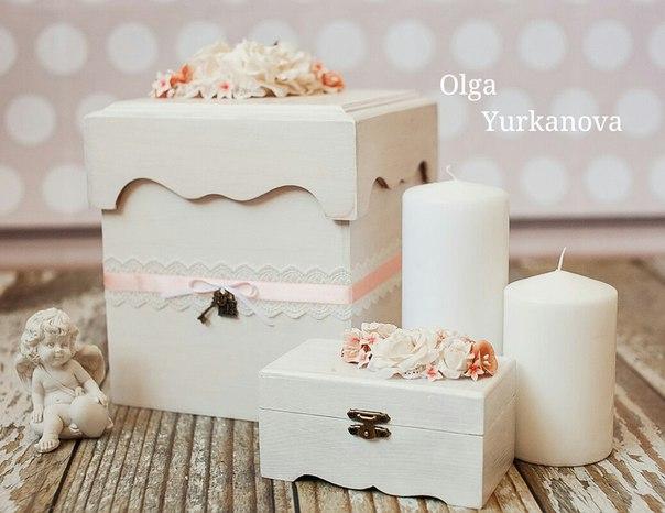 Свадебный комплект: шкатулка для колец и сундук для приема поздравлений с цветами из полимерной глин… (6 фото) - картинка