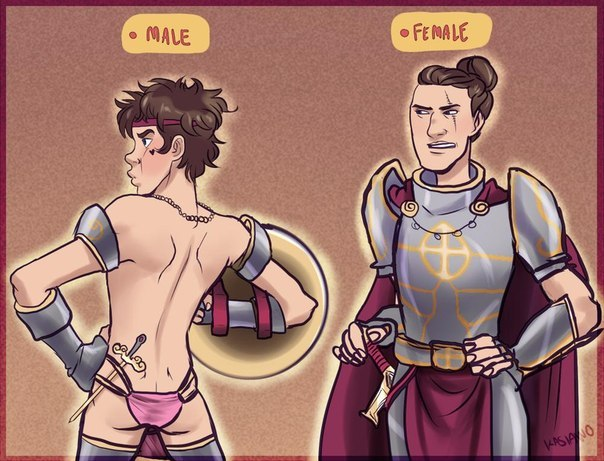 in Naked armor men