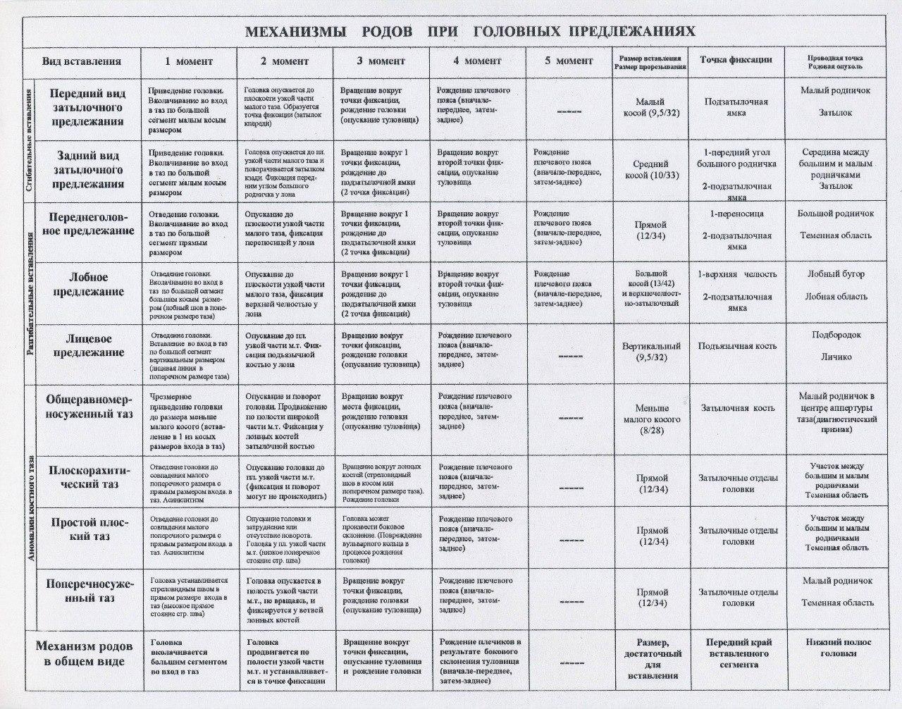 Акушерство и гинекология: Механизм родов при головных предлежаниях
