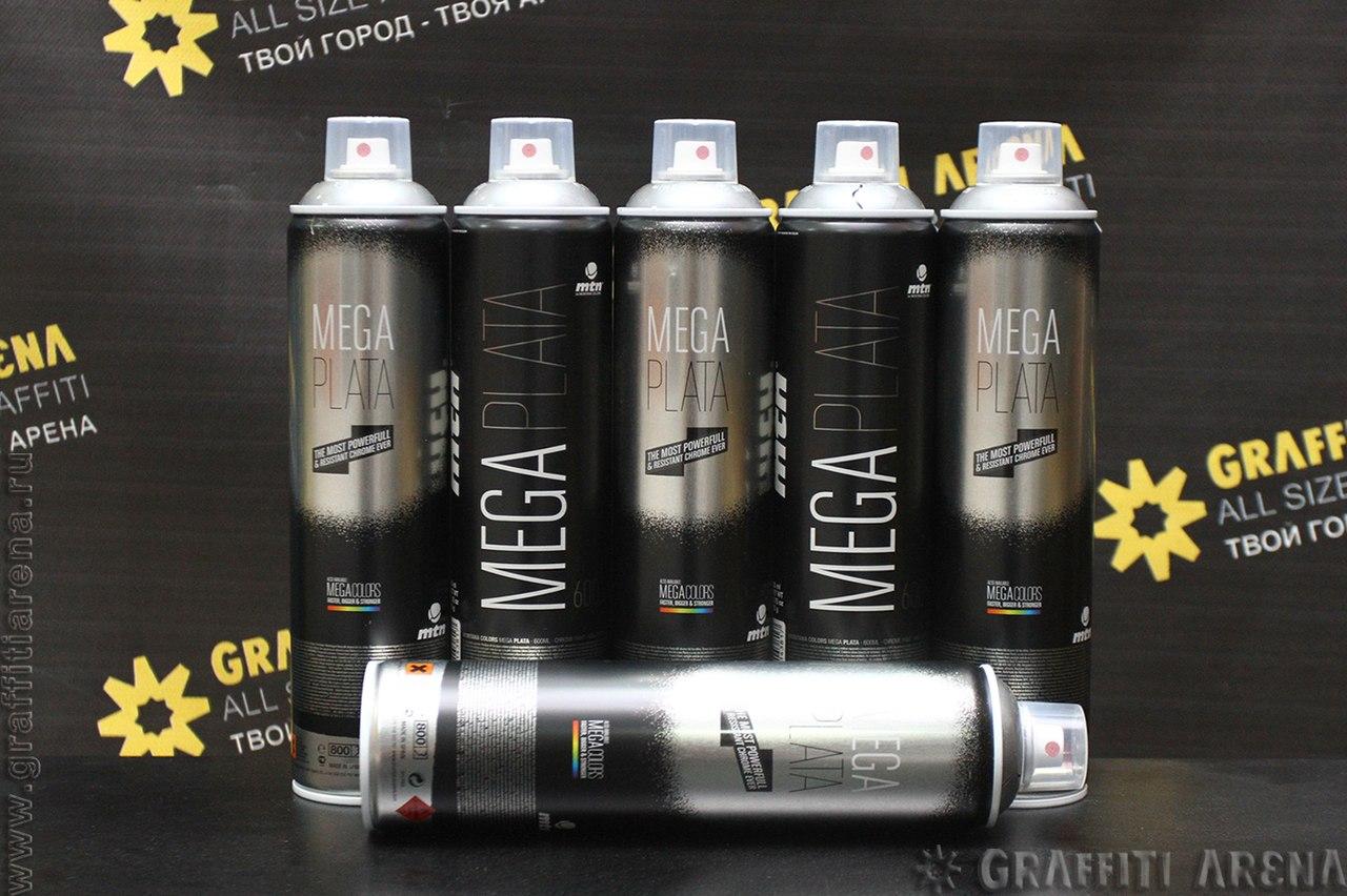 Краска для граффити MTN MEGA PLATA (SILVER CHROME) 600 мл  Montana Colors S.L. Испания