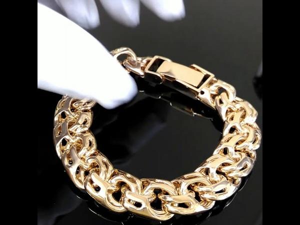 Мужской браслет плетения Бисмарк из красного золота 585 пробы, вес 115 грамм, ширина 10мм, арт. i739