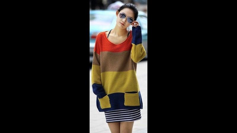 Многоцветный Пуловер Спицами - 2019 / Multi-color Pullover Knitting Needles