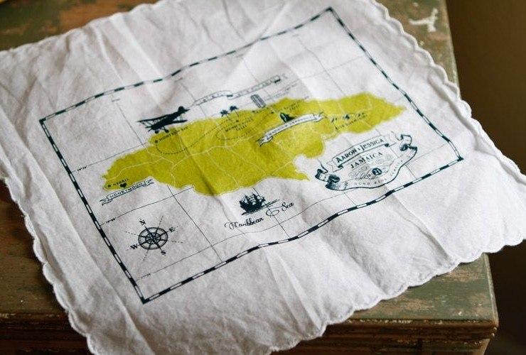 приглашение на свадьбу в виде карты на платке