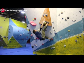 Bouldering World cup climber Dave Barrans V7-V10 circuit at The Depot