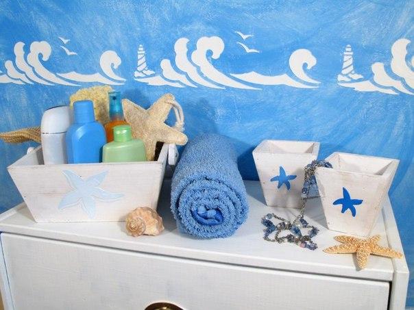 Декор ванной комнаты с помощью трафаретов и объемной пасты… (6 фото) - картинка