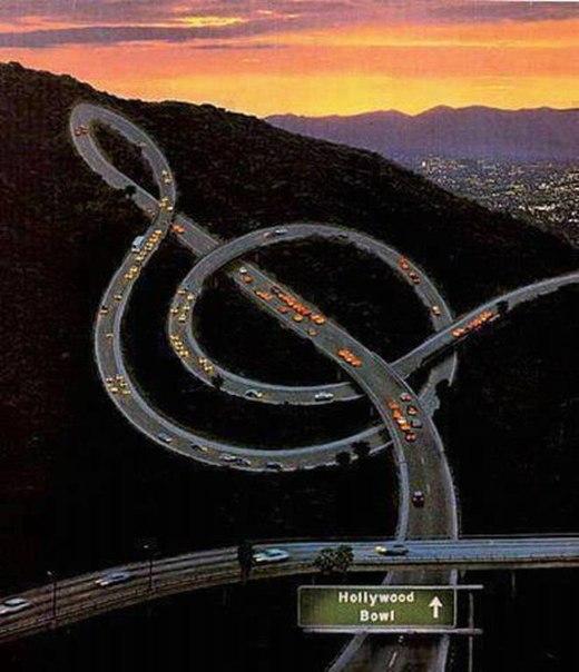Потрясающая идея. Музыкальное шоссе. Лос-Анджелес, Калифорния.