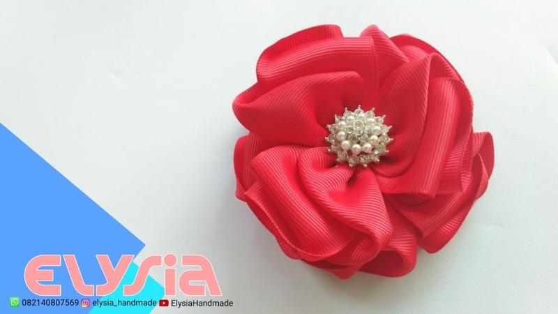 Flor Elegante Fita de Gorgorão 🎀 Elegant Flower Grosgrain Ribbon 🎀 DIY by Elysia Handmade