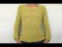 Шёлковый свитерок цвета лайм Связывание плечевых швов спицами