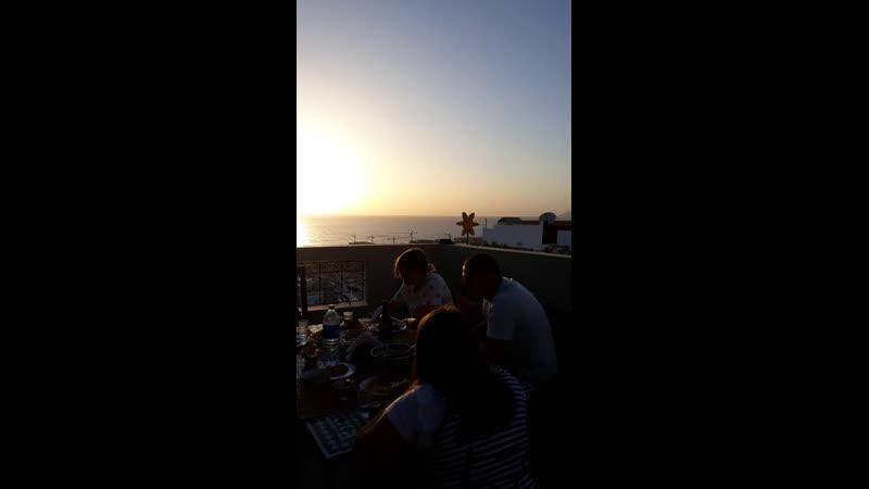 Diner and sunset in familysurfmorocco