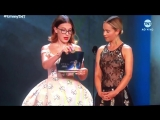 Emilia Clarke and Millie Bobby Brown presenting at tonights Emmys.
