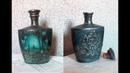 Бутылка с двойным декором. Декупаж и рельефный узор