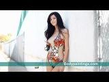Leopard one piece bikini body painted