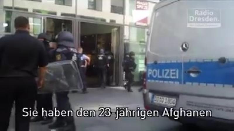 An der Prager Straße in Dresden ist ein 23 jähriger Afghane mit einem 25 Zentimer langen Messer festgenommen worden