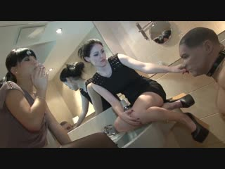Mistress blackdiamoond shows friend how to humiliate spitting