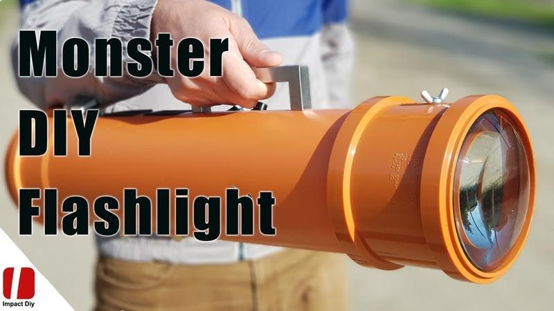How To Make Monster 100w LED Flashlight 10,000 Lumens With Huge Lenses
